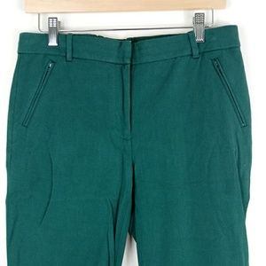 J.Crew Green stretch cropped pants trousers size 6